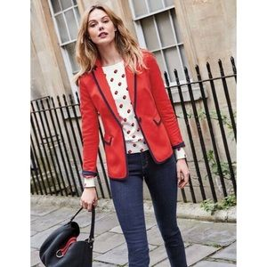 Boden Red with Navy Tipping Picardy Blazer PETITE